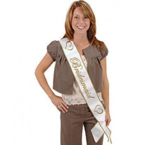 Bridesmaid Sash - Gold & White