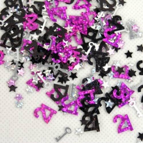 Scatter Confetti 21 Key Fuschia Numbers
