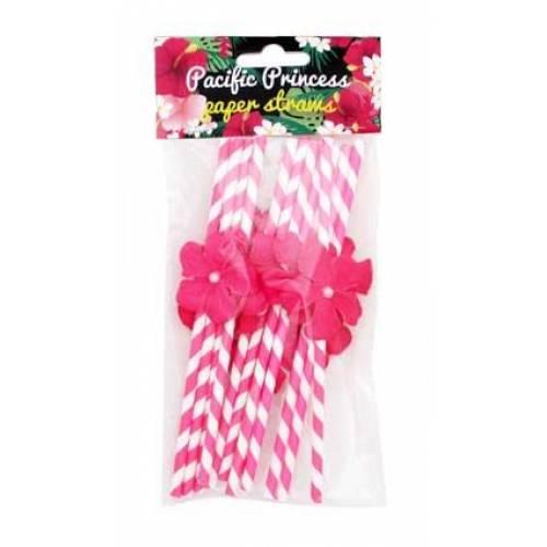 Hawaiian Luau Pink Flower Straws 12pk