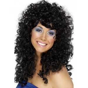 Wig Long Curly Black