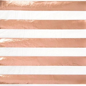 Lunch Napkins 16pk - Rose gold Stripe