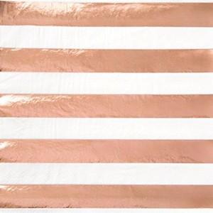 Lunch Napkins 16pk - Rose gold Stripe