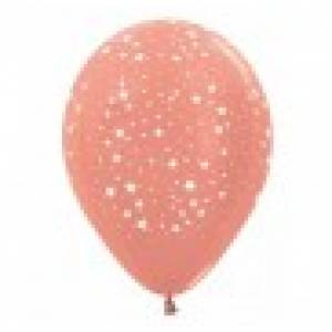 Balloon Single Rose Gold - White Stars