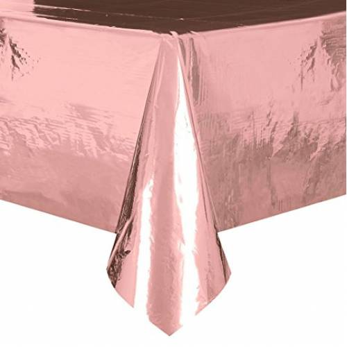 Plastic Table Cover Rectangle - Rose Gold