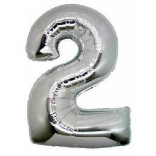 "Foil Balloon Number Silver ""2"""