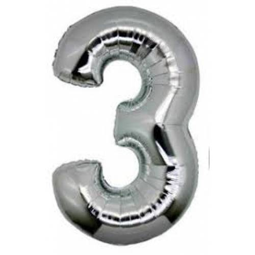 "Foil Balloon Number Silver ""3"""