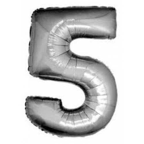 "Foil Balloon Number Silver ""5"""