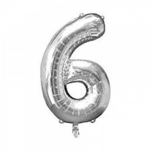 "Foil Balloon Number Silver ""6"""