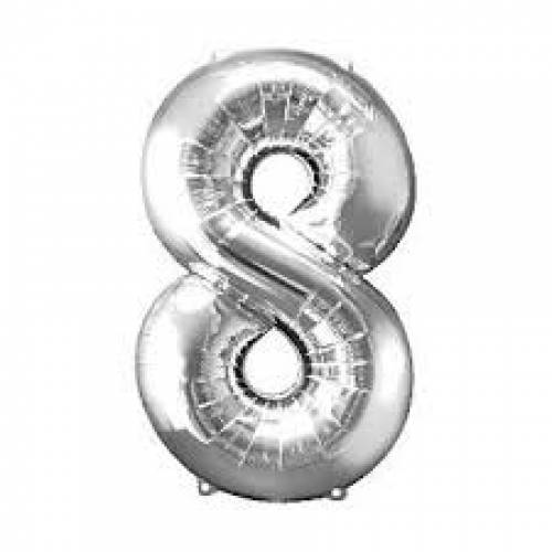 """Foil Balloon Number Silver """"8"""""""