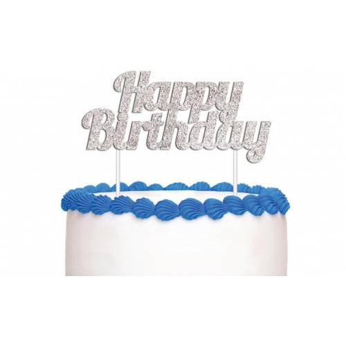 Cake Topper Happy Birthday Silver Glitter
