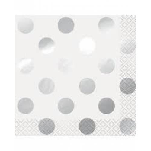 Beverage Napkins 16pk - Silver Dots