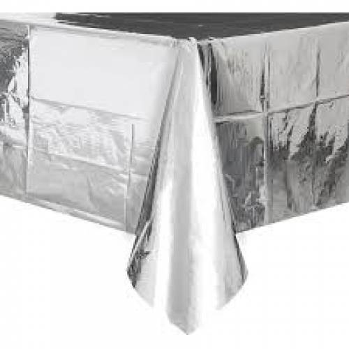 Foil Table Cover Rectangle - Metallic Silver