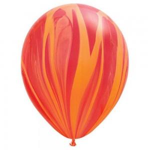 Balloon Single Red/Orange Marble