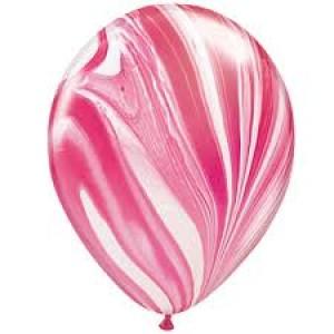 Balloon Single Red/White Marble