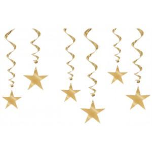 Hanging Swirls with Stars - Gold