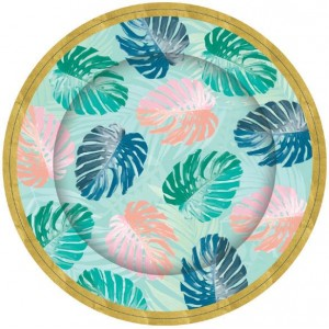 Tropical Leaf Paper Plates 8pk