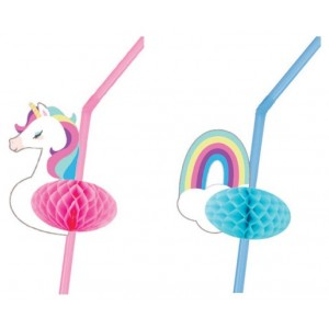 Unicorn & Rainbow Honeycomb Straws 12pk
