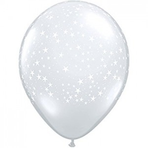 Balloon Single White Stars