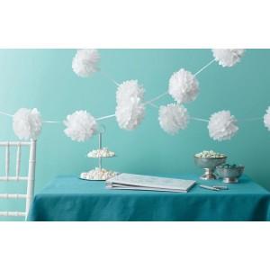 Tissue Pom-Pom Garland White - 3 mtrs