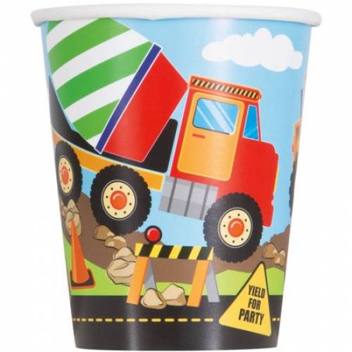 Construction Party 'Yield for Party' Paper Cups 8pk