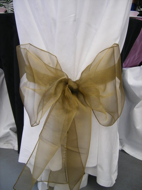 Olive Gold Chair Cover Sash Hire
